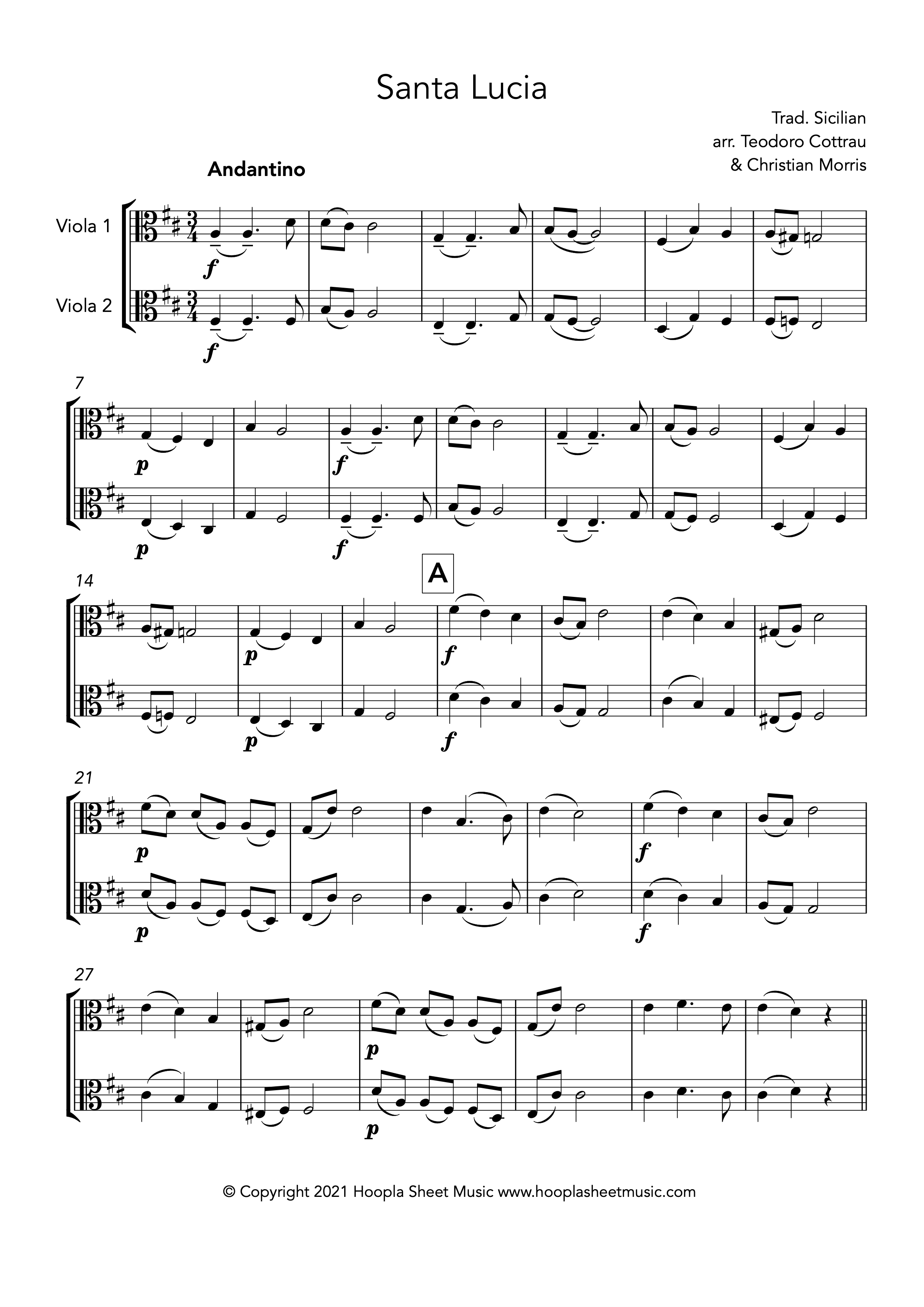 Santa Lucia (Viola Duet)