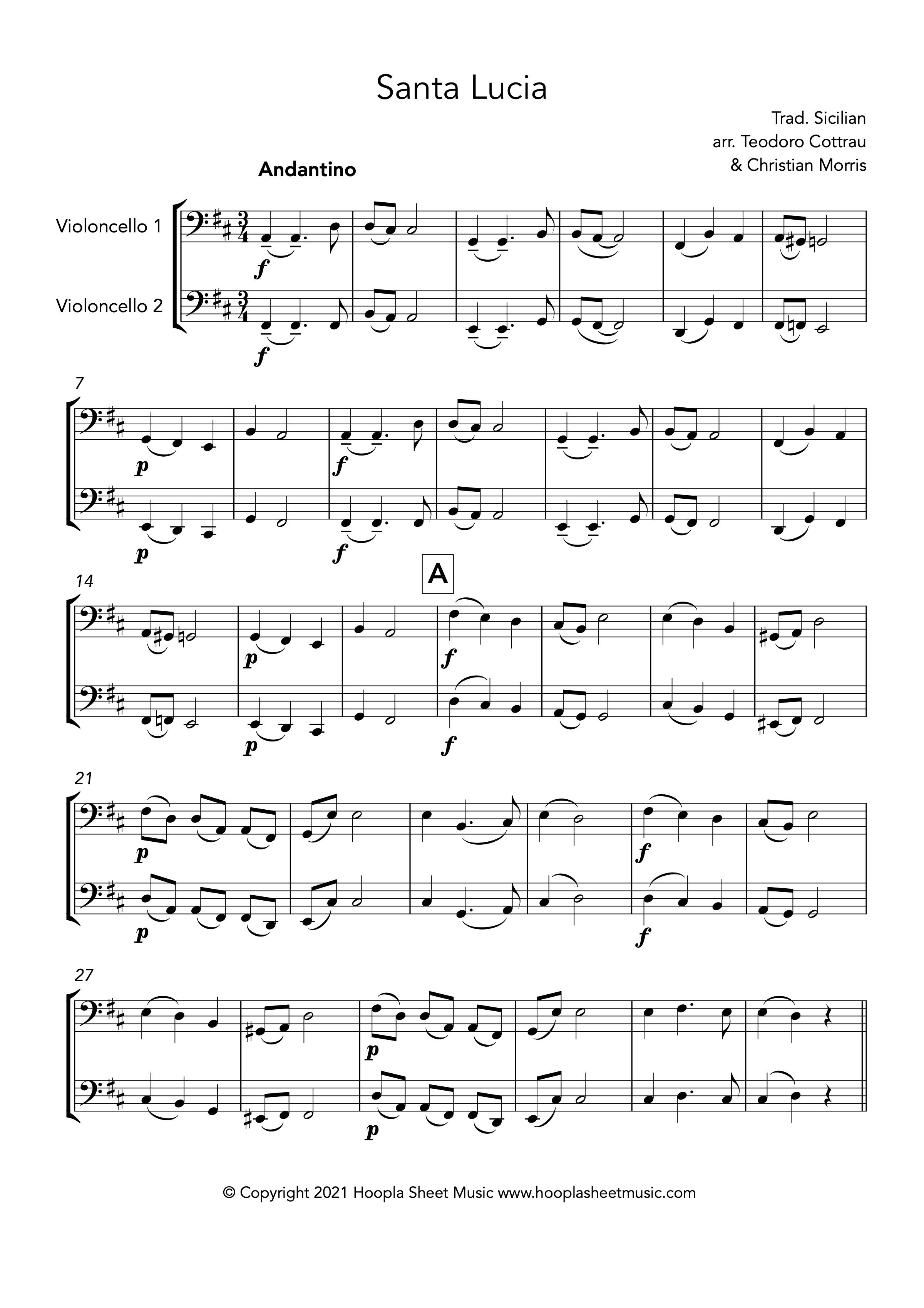 Santa Lucia (Cello Duet)
