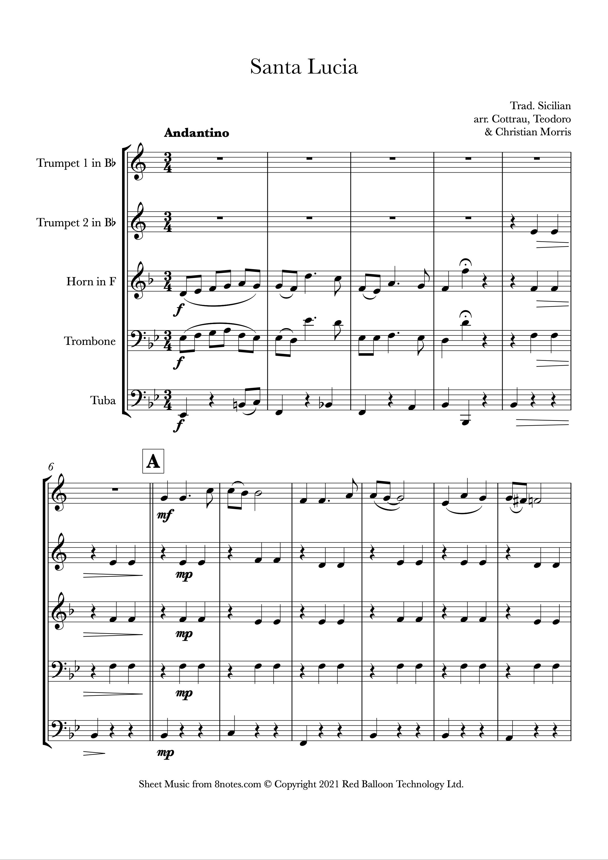 Santa Lucia (Brass Quintet)