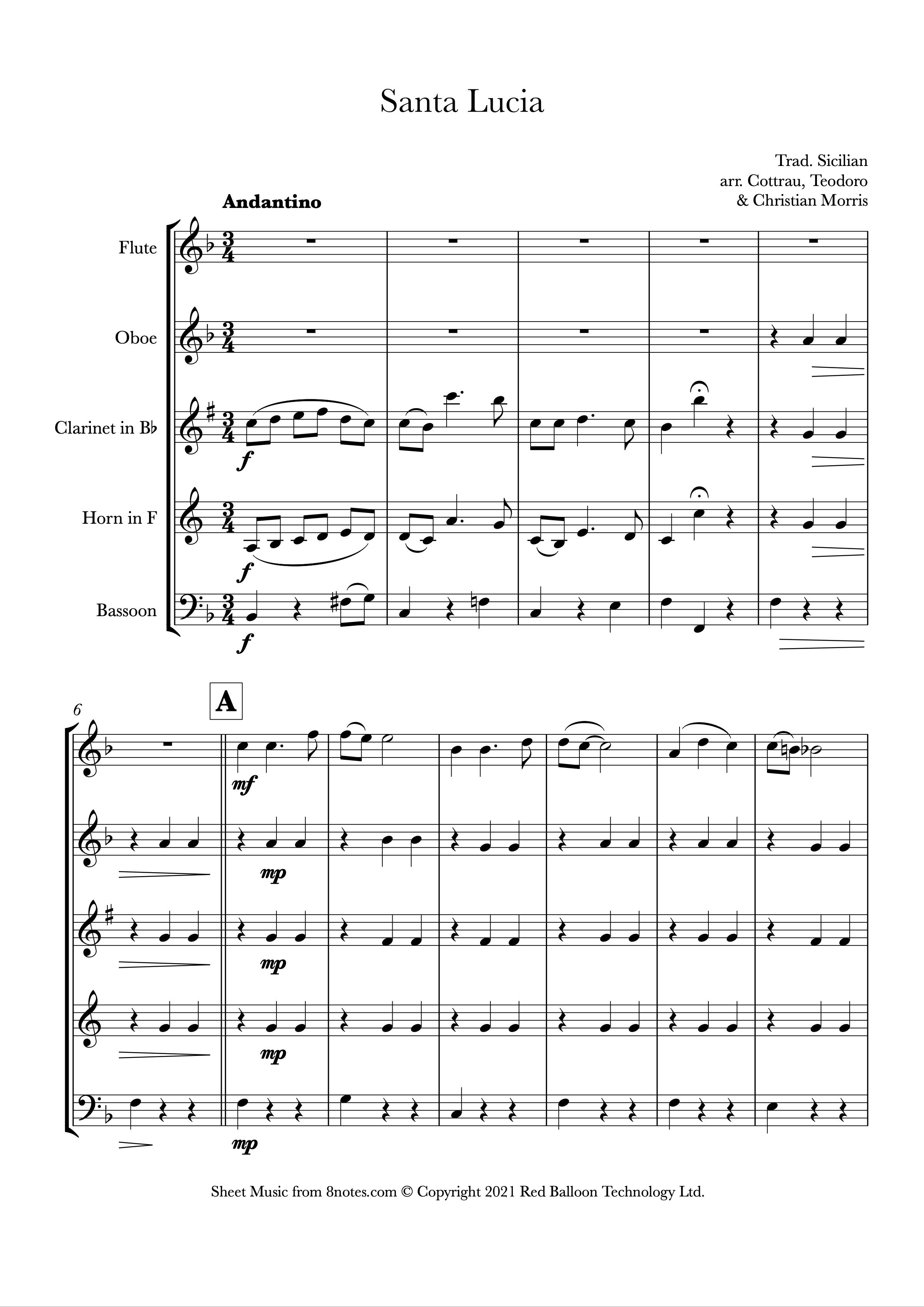 Santa Lucia (Wind Quintet)